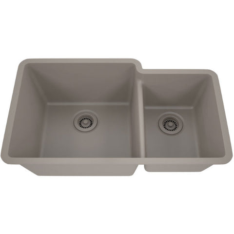 "Lexicon Platinum 32"" Concrete Quartz Double Bowl Composite Sink w/ Grid LP-6040 - Annie & Oak"