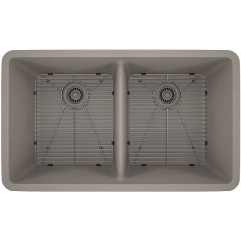 "Lexicon Platinum 32"" Concrete Quartz Double Bowl Composite Sink with Strainer LP-5050 - Annie & Oak"