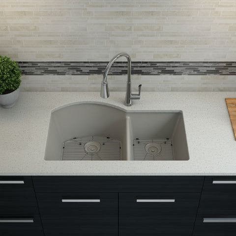 "Lexicon Platinum 32"" Concrete Quartz Double Composite Sink w/ Grid LP-7030 - Annie & Oak"