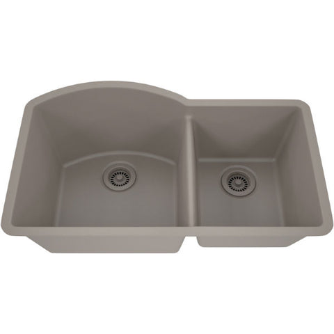 "Image of Lexicon Platinum 32"" Concrete Quartz Double Composite Sink w/ Grid LP-7030 - Annie & Oak"