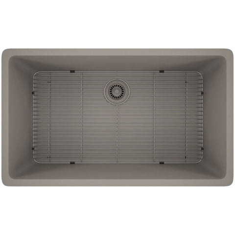 "Lexicon Platinum 32"" Concrete Quartz Single Bowl Composite Sink w/ Grid LP-1000 - Annie & Oak"