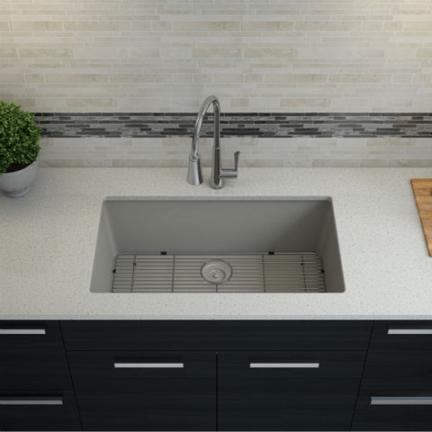 "Image of Lexicon Platinum 32"" Concrete Quartz Single Bowl Composite Sink w/ Grid LP-1000 - Annie & Oak"