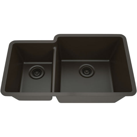 "Image of Lexicon Platinum 32"" Mocha Quartz Double Bowl Composite Sink w/ Grid LP-4060 - Annie & Oak"