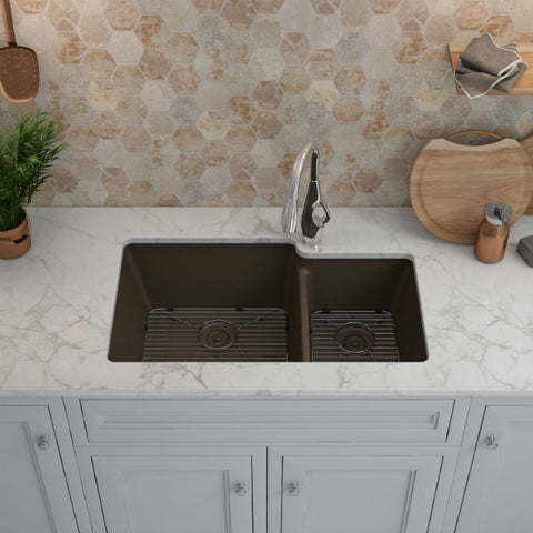 "Lexicon Platinum 32"" Mocha Quartz Double Bowl Composite Sink w/ Grid LP-6040 - Annie & Oak"