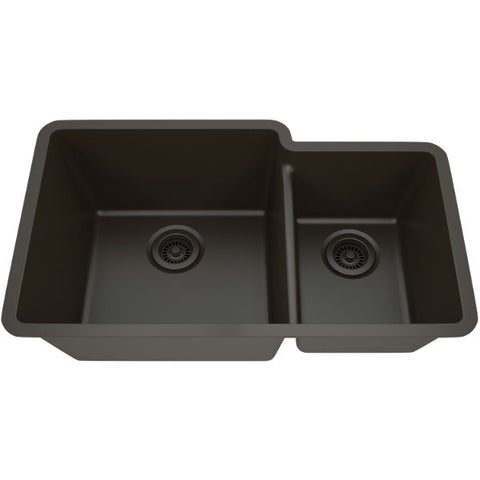 "Image of Lexicon Platinum 32"" Mocha Quartz Double Bowl Composite Sink w/ Grid LP-6040 - Annie & Oak"