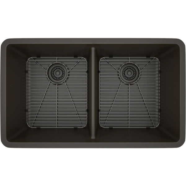 "Lexicon Platinum 32"" Mocha Quartz Double Bowl Composite Sink with Strainer LP-5050-Annie & Oak"