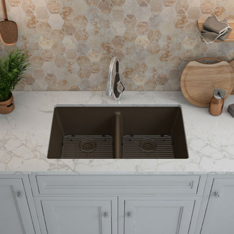 "Image of Lexicon Platinum 32"" Mocha Quartz Double Bowl Composite Sink with Strainer LP-5050 - Annie & Oak"