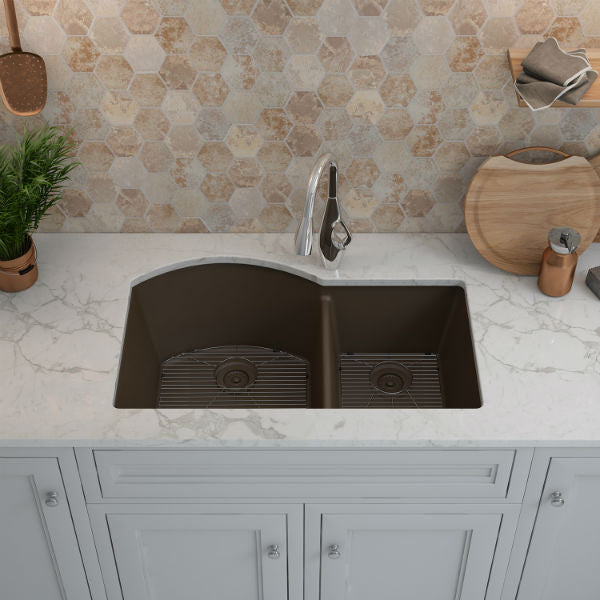 "Lexicon Platinum 32"" Mocha Quartz Double Composite Sink w/ Grid LP-7030-Annie & Oak"