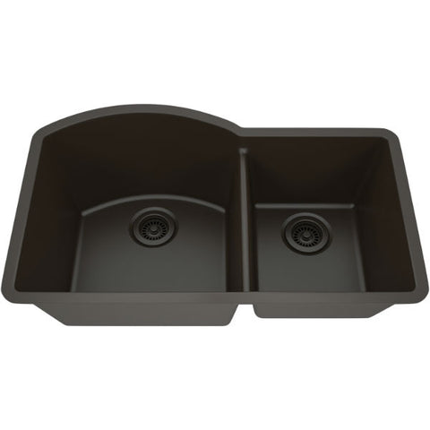 "Image of Lexicon Platinum 32"" Mocha Quartz Double Composite Sink w/ Grid LP-7030 - Annie & Oak"