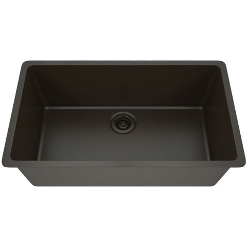 "Lexicon Platinum 32"" Mocha Quartz Single Bowl Composite Sink w/ Grid LP-1000 - Annie & Oak"