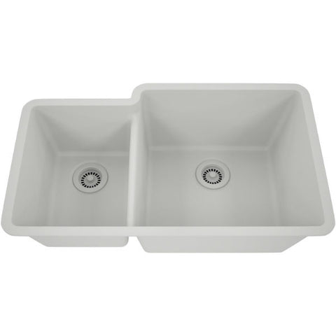 "Lexicon Platinum 32"" White Quartz Double Bowl Composite Sink w/ Grid LP-4060 - Annie & Oak"