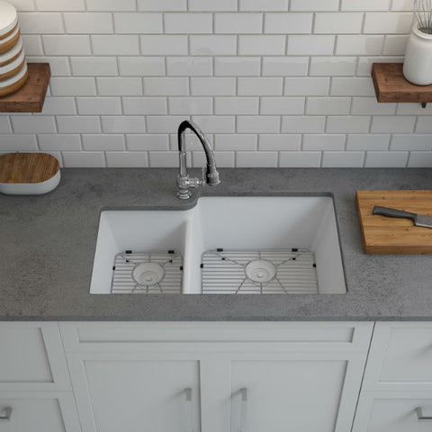 "Image of Lexicon Platinum 32"" White Quartz Double Bowl Composite Sink w/ Grid LP-4060 - Annie & Oak"