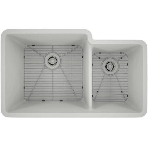 "Lexicon Platinum 32"" White Quartz Double Bowl Composite Sink w/ Grid LP-6040 - Annie & Oak"