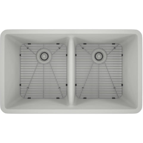 "Image of Lexicon Platinum 32"" White Quartz Double Bowl Composite Sink with Strainer LP-5050 - Annie & Oak"