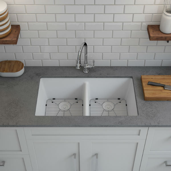 "Lexicon Platinum 32"" White Quartz Double Bowl Composite Sink with Strainer LP-5050-Annie & Oak"