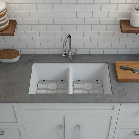 "Lexicon Platinum 32"" White Quartz Double Bowl Composite Sink with Strainer LP-5050 - Annie & Oak"