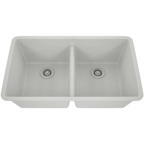 "Image of Lexicon Platinum 32"" White Quartz Double Bowl Composite Sink with Strainer LP-5050-Annie & Oak"