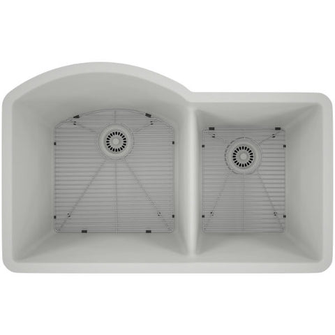 "Image of Lexicon Platinum 32"" White Quartz Double Composite Sink w/ Grid LP-7030 - Annie & Oak"