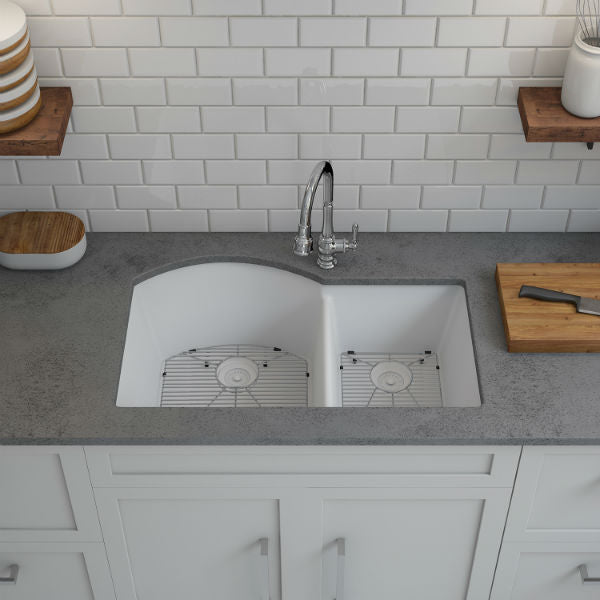 "Lexicon Platinum 32"" White Quartz Double Composite Sink w/ Grid LP-7030 - Annie & Oak"