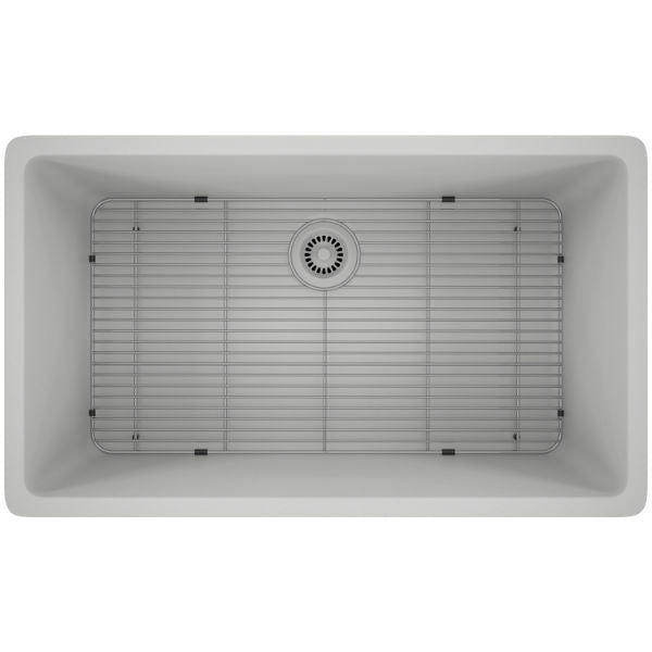 "Lexicon Platinum 32"" White Quartz Single Bowl Composite Sink w/ Grid LP-1000-Annie & Oak"