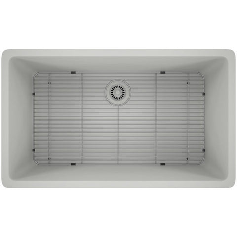 "Image of Lexicon Platinum 32"" White Quartz Single Bowl Composite Sink w/ Grid LP-1000-Annie & Oak"
