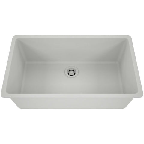 "Lexicon Platinum 32"" White Quartz Single Bowl Composite Sink w/ Grid LP-1000 - Annie & Oak"