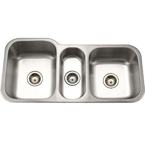 "Houzer MGT-4120-1 40"" Stainless Steel Triple Bowl Undermount Kitchen Sink"