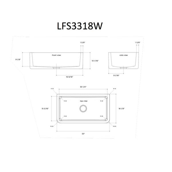 Latoscana LFS3318W White Fireclay Farmhouse Sink specification sheet