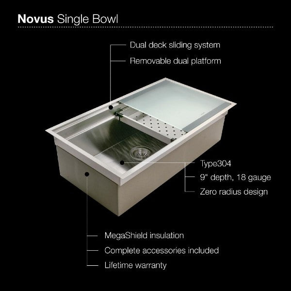 "Houzer Novus NVS-5200 32"" Stainless Steel Single Bowl Undermount Kitchen Sink"