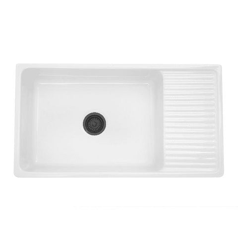 "Image of Nantucket FCFS36-DB 36"" Fireclay Farmhouse Sink White with Drainboard - Annie & Oak"