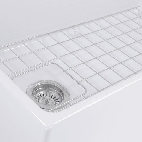 "Image of Nantucket T-FCFS36 36"" White Single Bowl  Fireclay Farmhouse Sink w/ Grid - Annie & Oak"