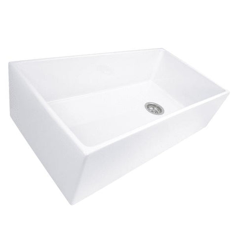 "Nantucket T-FCFS36 36"" White Single Bowl  Fireclay Farmhouse Sink w/ Grid - Annie & Oak"