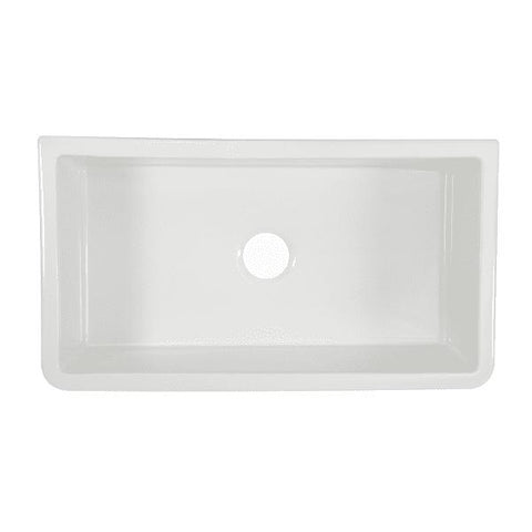 Image of Nantucket Harwich-33 Fireclay Farmhouse Sink Reversible Italian White - Annie & Oak