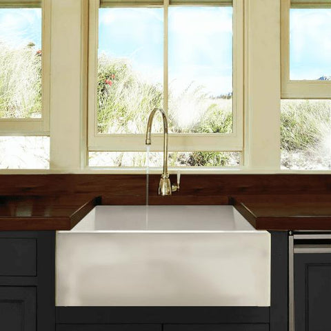 "Nantucket Hyannis-24 24"" White Single Bowl Fireclay Farmhouse Sink - Annie & Oak"