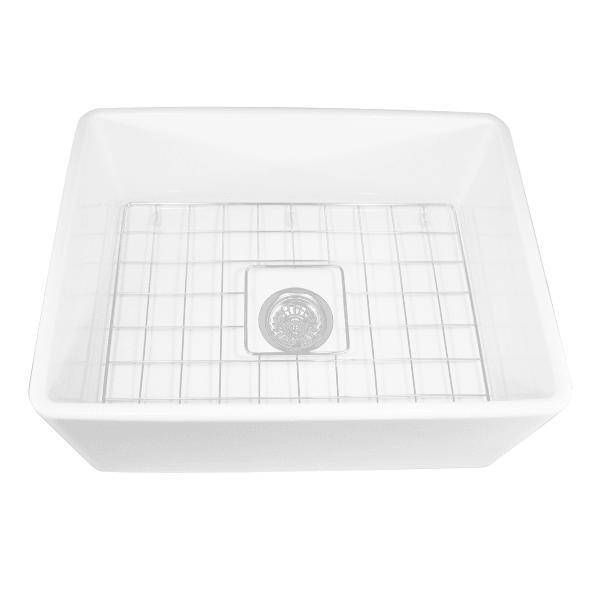 Nantucket T-FCFS24 24 Fireclay Farmhouse Sink White w/ Grid & Drain - Annie & Oak