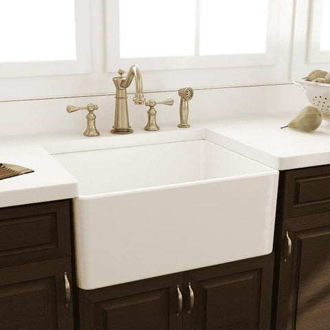 Image of Nantucket T-FCFS24 24 Fireclay Farmhouse Sink White w/ Grid & Drain - Annie & Oak