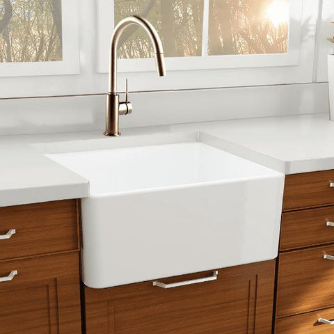 Image of Nantucket T-FCFS27 27 Inch Fireclay Farmhouse Sink White With Grid - Annie & Oak