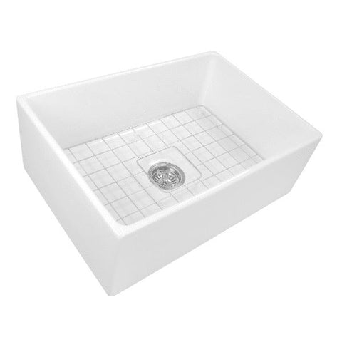 Nantucket T-FCFS27 27 Inch Fireclay Farmhouse Sink White With Grid - Annie & Oak