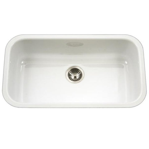 "Image of Houzer PCG-3600 WH 31"" White Single Bowl Porcelain Enamel Steel Undermount Sink"