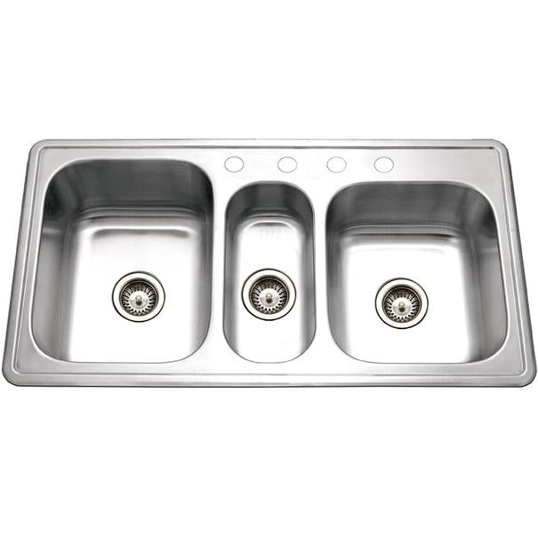 "Houzer PGT-4322-1 41"" Stainless Steel Triple Bowl Topmount Kitchen Sink"