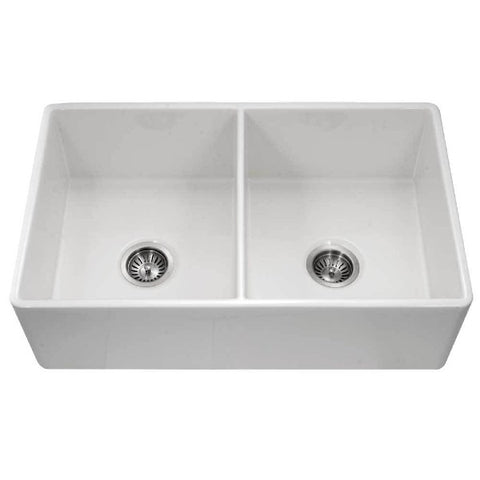 "Houzer Platus PTD-4400-WH 33"" Double Bowl Fireclay Farmhouse Sink"