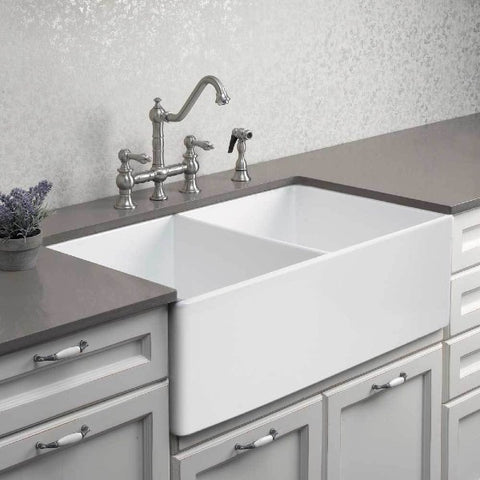 "Image of Houzer Platus PTD-4400-WH 33"" Double Bowl Fireclay Farmhouse Sink"