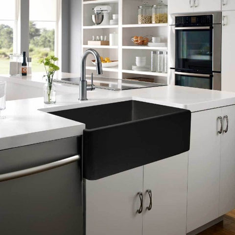 "Image of Houzer Platus PTG-4300 BL 33"" Black Single Bowl Fireclay Farmhouse Sink"