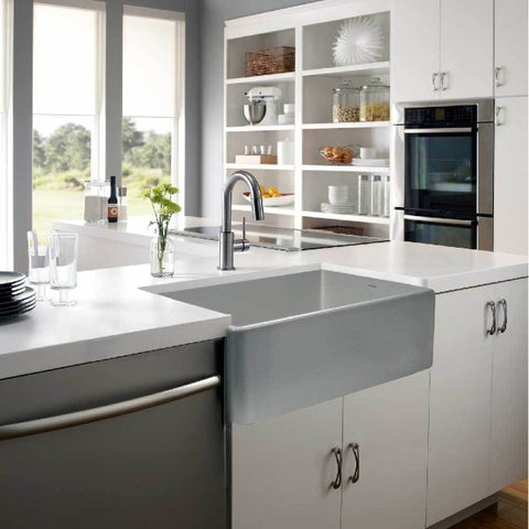 "Houzer Platus PTG-4300-GR 33"" Gray Single Bowl Fireclay Farmhouse Sink"
