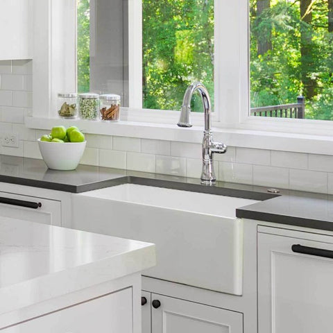 "Houzer Platus PTS-2600-WH 26"" White Single Bowl Fireclay Farmhouse Sink"