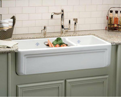 Image of Rohl Shaws Egerton Casement Edge Apron 39 Fireclay Farmhouse Sink RC4018 - Annie & Oak