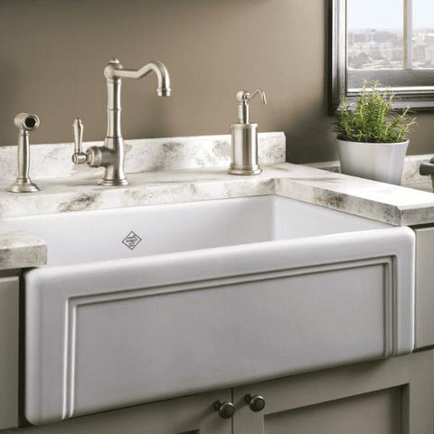 Image of Rohl Shaws Egerton Casement Edge Apron 30 Fireclay Farmhouse Sink RC3017 - Annie & Oak