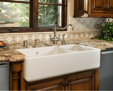 Image of Rohl Shaws Original 40 in. Double Bowl Fireclay Farmhouse Sink RC4019 - Annie & Oak