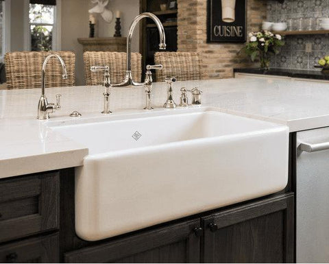 Image of Rohl Shaws Original Lancaster 33 in. Fireclay Farmhouse Sink RC3318 - Annie & Oak