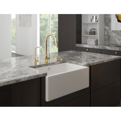 Image of Rohl Shaws Classic Shaker Modern Apron 24 Fireclay Farmhouse Sink MS2418 - Annie & Oak